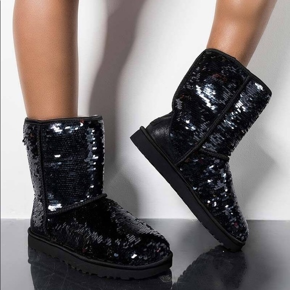 UGG Shoes   Black Sequin Sheepskin